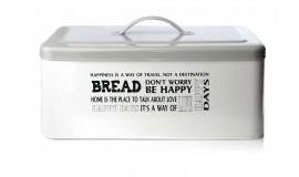 Chlebak stalowy - Biały emaliowany z pokrywką