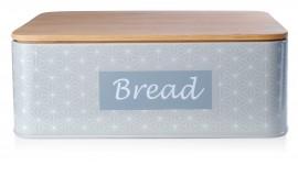 Chlebak stalowy - Szary emaliowany z pokrywką