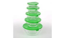 Altom - Zestaw szklanych misek z pokrywkami 10 el